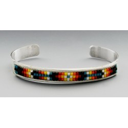 Native American Sterling Silver Cuff Bracelet with Beads