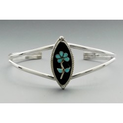 Native American Sterling Silver Cuff Bracelet with Onyx and Turquoise