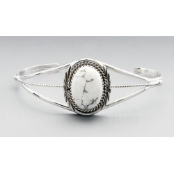 Southwestern Sterling Silver Cuff Bracelet with Howlite