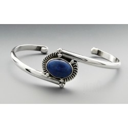 Native American Sterling Silver Cuff Bracelet with Lapis