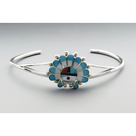 Native American Sterling Silver Cuff Bracelet with Gemstones