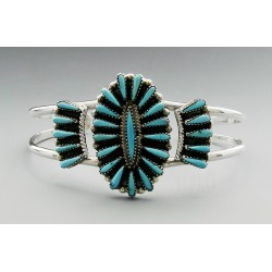 Zuni Sterling Silver Cuff Bracelet with Turquoise