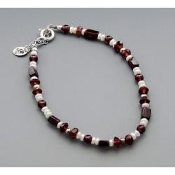 Southwestern Sterling Silver Garnet and Pearl Bracelet