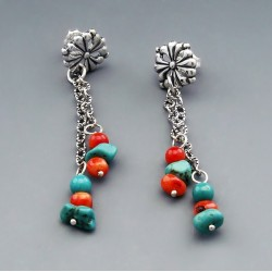 Southwestern Sterling Silver with Turquoise and Coral Earrings