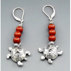 Southwestern Sterling Silver Turtle Earrings with Coral