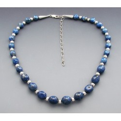 Sterling Silver Lapis Graduated Nugget Necklace