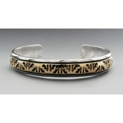 Southwestern Sterling Silver and 14K Gold Cuff Bracelet