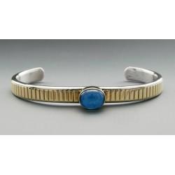 Southwestern Sterling Silver and 14K Gold Cuff Bracelet