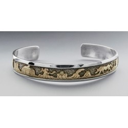 Southwestern Sterling Silver and 12K Gold Filled Cuff Bracelet