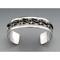 Southwestern Sterling Silver Cuff Bracelet with Onyx