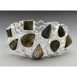 Sterling Silver Cuff Bracelet with Labradorite