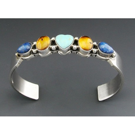 Sterling Silver Cuff Bracelet with Gemstones