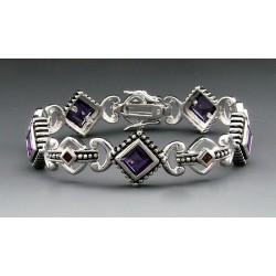 Sterling Silver Bracelet with Amethyst and Garnet