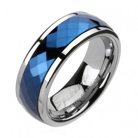 Tungsten Band Ring with Blue IP Spinner