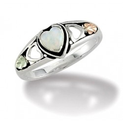 Black Hills 12K Gold on Sterling Silver Heart Ring with Opal
