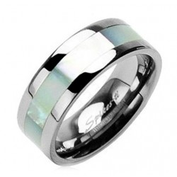 Titanium Band Ring with Mother of Pearl