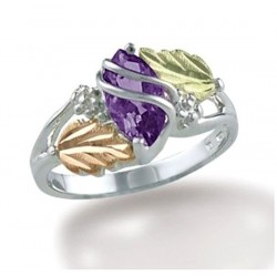 Black Hills Sterling and 12K Gold Ring with Amethyst