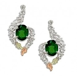 Black Hills Sterling and 12K Gold Post Earrings with Emerald