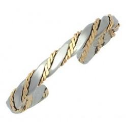 Sergio Lub Cuff Bracelet - Silver Caduceus Brushed