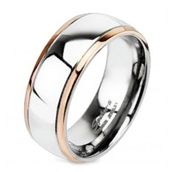 Titanium Band Ring with Rose Gold Edge