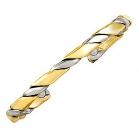 Sergio Lub Magnetic Brass and Silver Cuff Bracelet