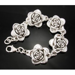 Sterling Silver Hollow Rose Bracelet