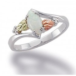 Black Hill 12K Gold on Sterling Silver Ring with Opal