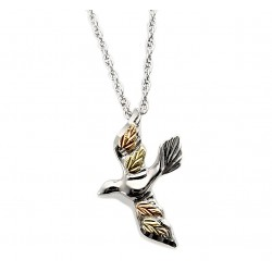 Black Hill Gold on Sterling Silver Dove Pendant with Necklace