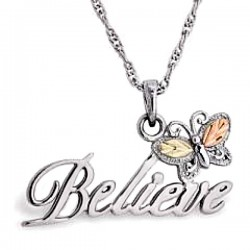 Black Hill Gold on Sterling Silver Believe Sign Pendant with Necklace
