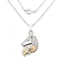 Black Hills Sterling and 12K Gold Horse Pendant with Necklace
