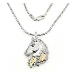 Black Hills Sterling and 12K Gold Horse Head Pendant with Chain