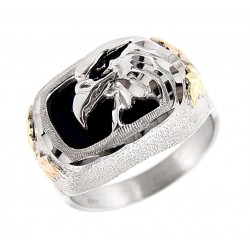 Black Hills Sterling Silver and 12K Gold Eagle Ring