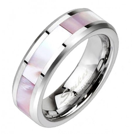 Tungsten Pink Mother of Pearl Inlay Band Ring