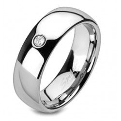 Tungsten Band Ring with CZ