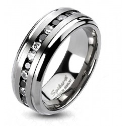 Titanium Band Ring with Black and Clear CZ Inlay