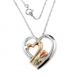 Black Hills 12K Gold on Sterling Silver Heart Pendant with Chain