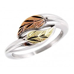 Black Hills Gold Ring Sterling Silver and 12K Gold Ring