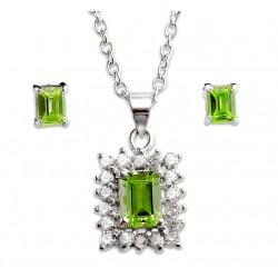 Sterling Silver Necklace and Earrings Set with Green CZ