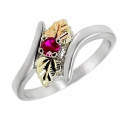 Black Hills Gold Ring Sterling and 12K Gold Ring with Ruby