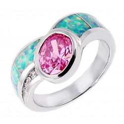 Sterling Silver Ring with Opal Inlay and CZ