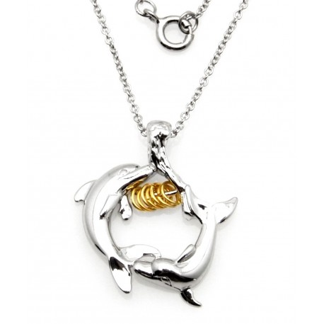 Black Hills Wish Rings Sterling Silver Dolphins Pendant