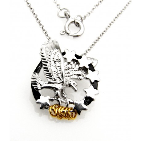 Black Hills Wish Rings Sterling Silver Eagle and Stars Pendant