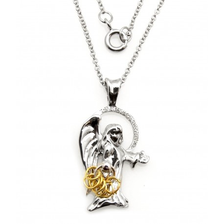 Black Hills Wish Rings Sterling Silver Angel Pendant