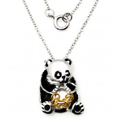 Black Hills Wish Rings Sterling Silver Panda Bear Pendant