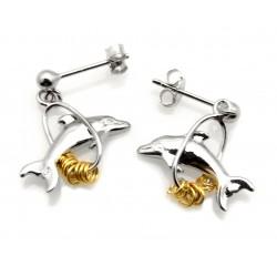 Black Hills Wish Rings Sterling Silver Dolphin Earrings