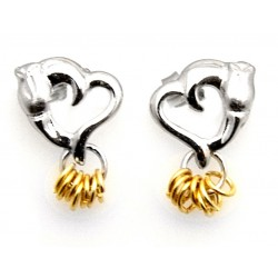Black Hills Wish Rings Sterling Silver Post Heart Earrings