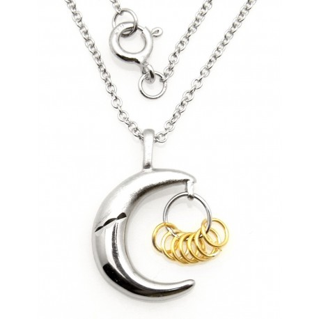 Black Hills Wish Rings Sterling Silver Moon Pendant