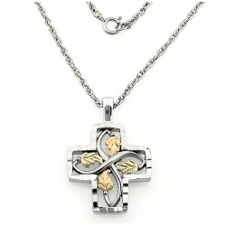 Black Hills Gold on Sterling Silver Cross Pendant with Necklace
