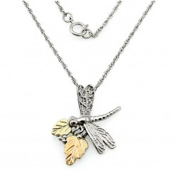Black Hills Gold on Sterling Silver Dragonfly Pendant with Necklace
