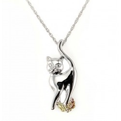 Black Hills Sterling and 12K Gold Cat Pendant with Necklace